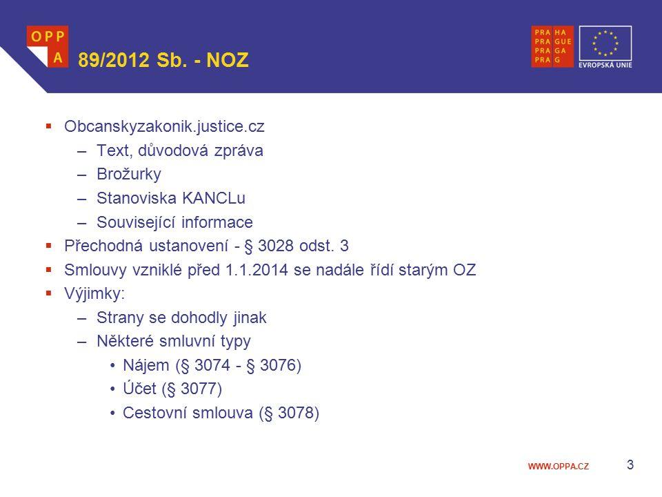 WWW.OPPA.CZ 89/2012 Sb. - NOZ  Obcanskyzakonik.justice.cz –Text, důvodová zpráva –Brožurky –Stanoviska KANCLu –Související informace  Přechodná usta