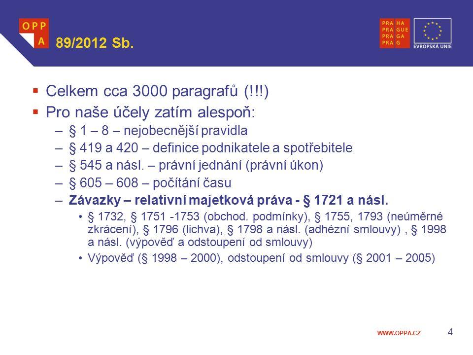 WWW.OPPA.CZ 89/2012 Sb.  Celkem cca 3000 paragrafů (!!!)  Pro naše účely zatím alespoň: –§ 1 – 8 – nejobecnější pravidla –§ 419 a 420 – definice pod