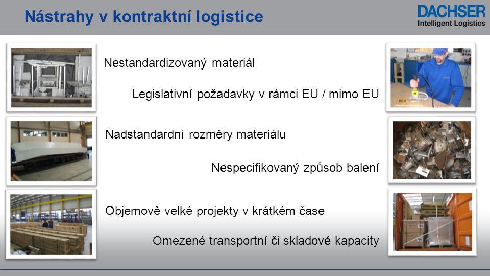 Nástrahy v kontraktní logistice Nadstandardní rozměry materiálu Objemově velké projekty v krátkém čase Omezené transportní či skladové kapacity Nespec
