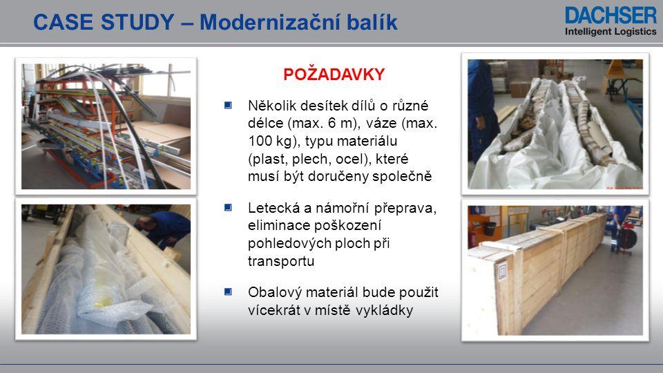 CASE STUDY – Modernizační balík POŽADAVKY Několik desítek dílů o různé délce (max. 6 m), váze (max. 100 kg), typu materiálu (plast, plech, ocel), kter