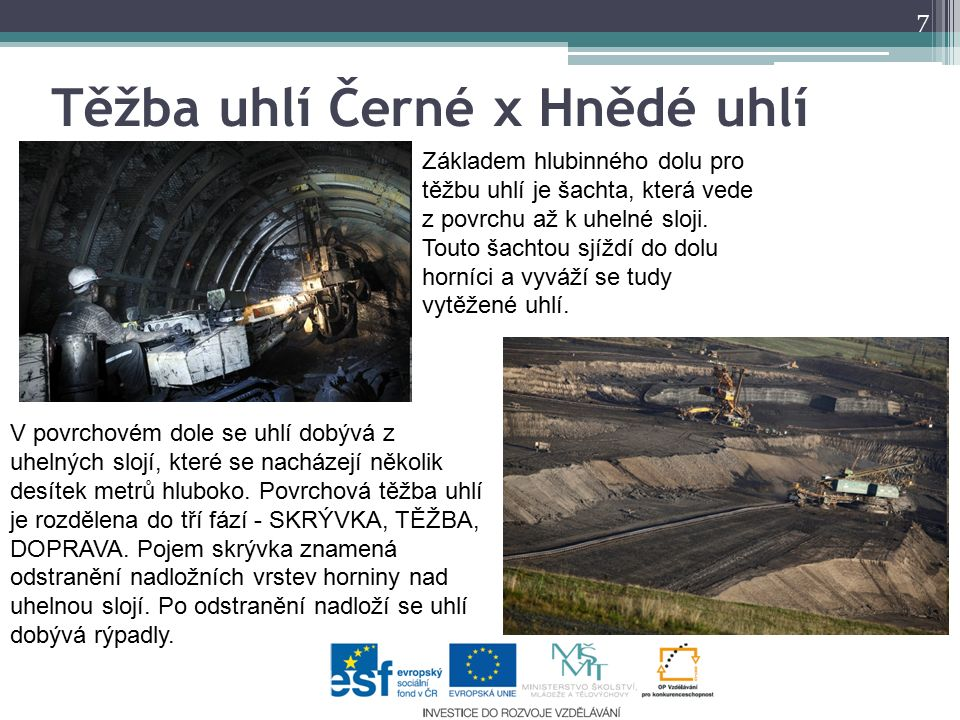 Těžba uhlí Černé x Hnědé uhlí Základem hlubinného dolu pro těžbu uhlí je šachta, která vede z povrchu až k uhelné sloji. Touto šachtou sjíždí do dolu
