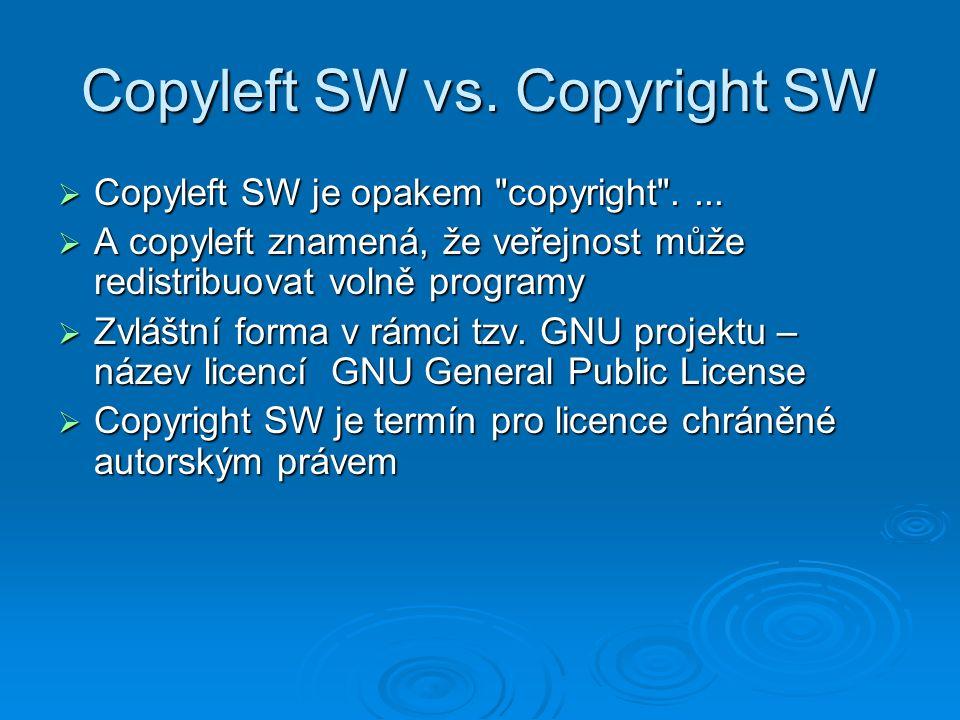 Copyleft SW vs. Copyright SW  Copyleft SW je opakem