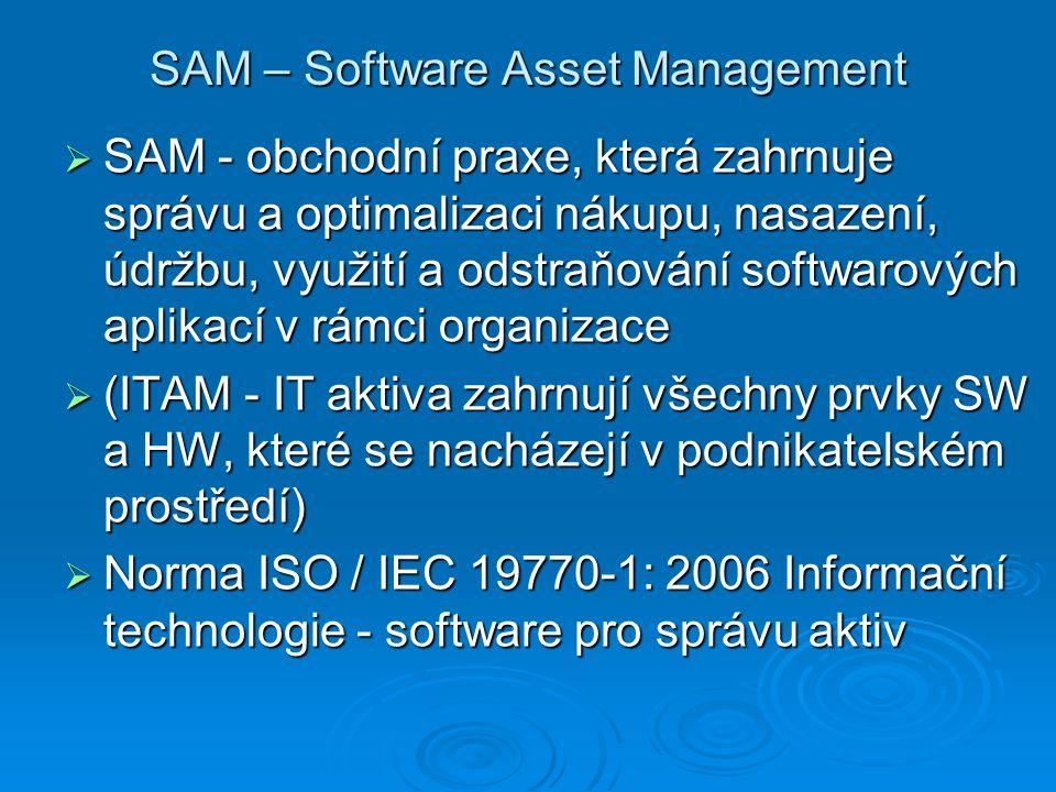 SAM – Software Asset Management  SAM - obchodní praxe, která zahrnuje správu a optimalizaci nákupu, nasazení, údržbu, využití a odstraňování softwaro