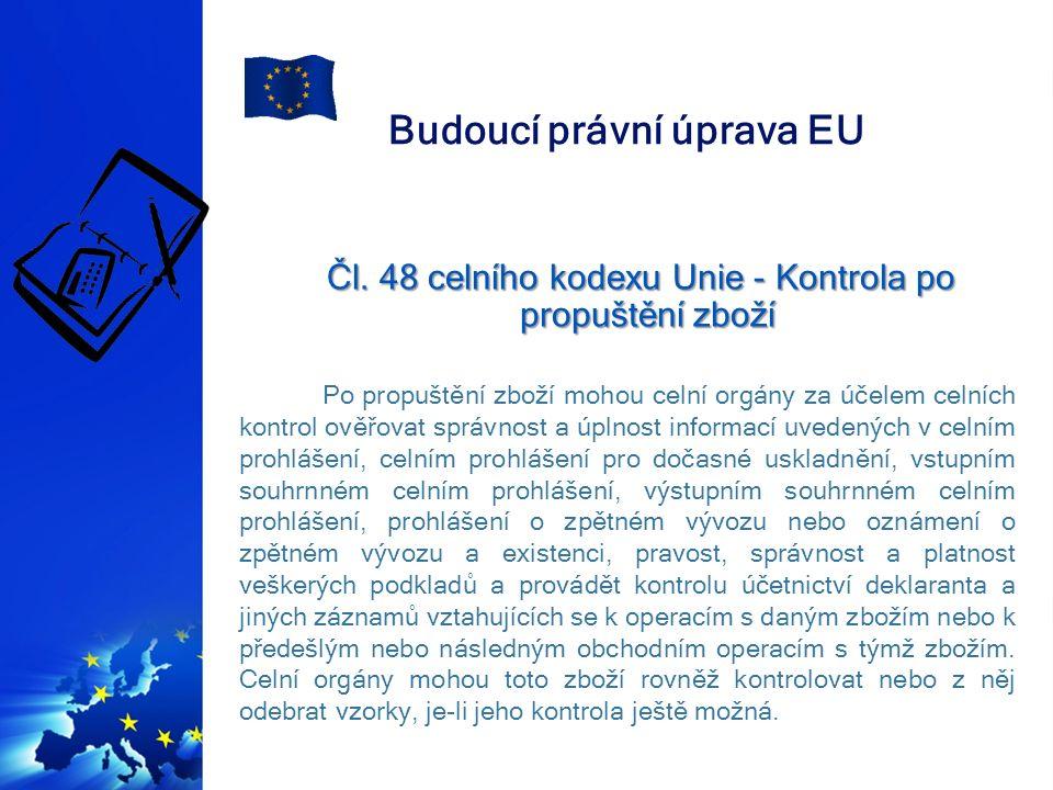 Budoucí právní úprava EU Čl.48 celního kodexu Unie - Kontrola po propuštění zboží Čl.