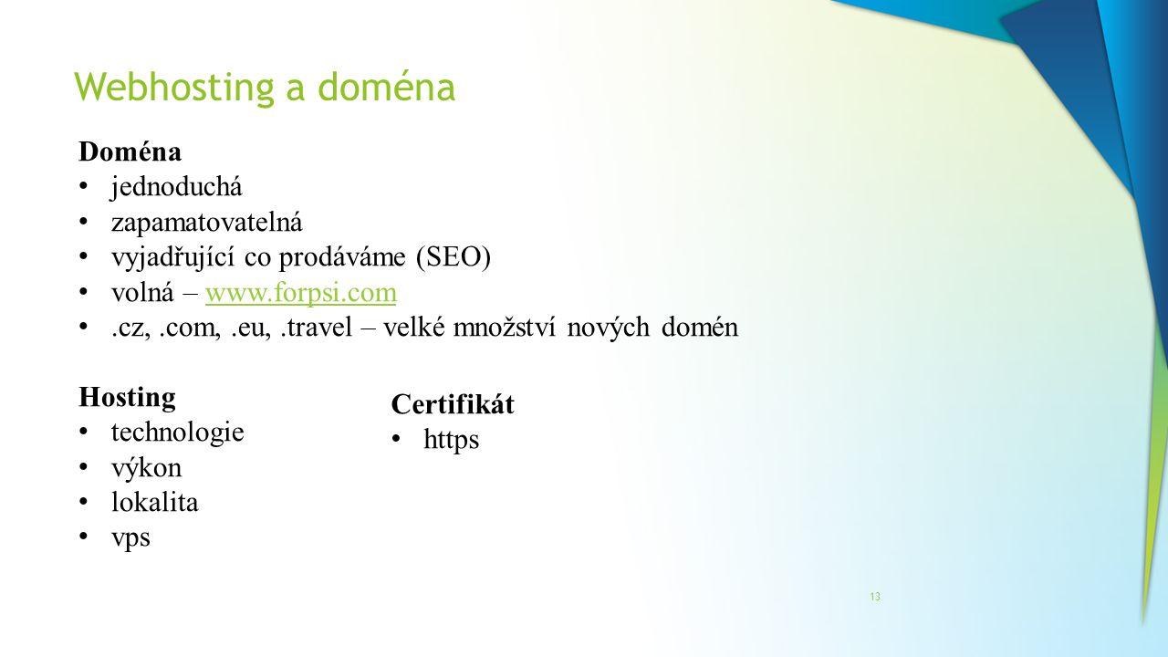 Webhosting a doména 13 Doména jednoduchá zapamatovatelná vyjadřující co prodáváme (SEO) volná – www.forpsi.comwww.forpsi.com.cz,.com,.eu,.travel – vel