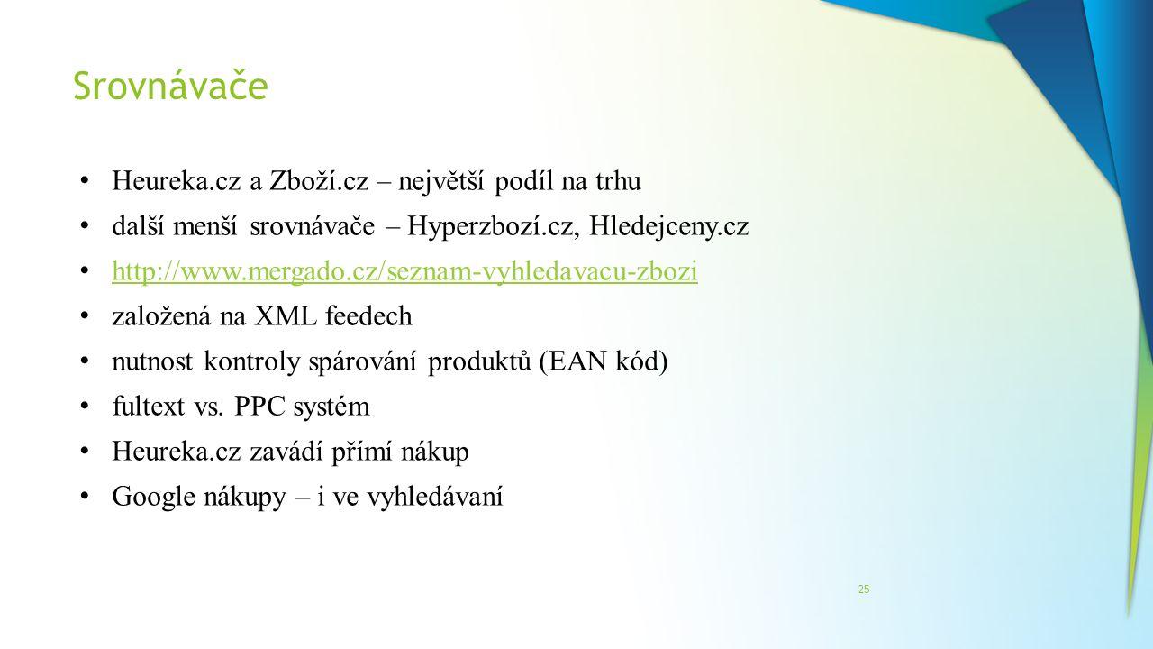 Srovnávače 25 Heureka.cz a Zboží.cz – největší podíl na trhu další menší srovnávače – Hyperzbozí.cz, Hledejceny.cz http://www.mergado.cz/seznam-vyhled