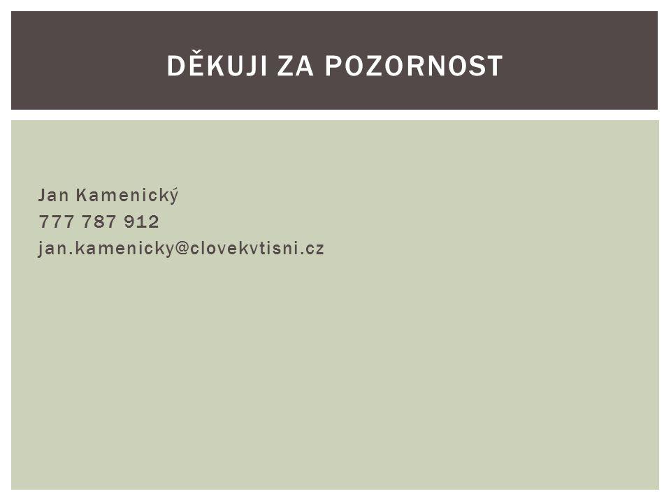 Jan Kamenický 777 787 912 jan.kamenicky@clovekvtisni.cz DĚKUJI ZA POZORNOST