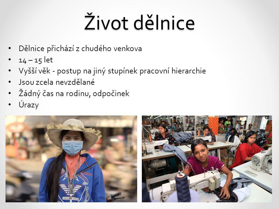Život dělnice Dělnice přichází z chudého venkova 14 – 15 let Vyšší věk - postup na jiný stupínek pracovní hierarchie Jsou zcela nevzdělané Žádný čas n