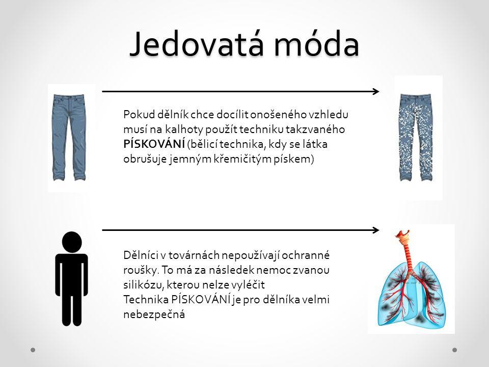 Jedovatá móda Pokud dělník chce docílit onošeného vzhledu musí na kalhoty použít techniku takzvaného PÍSKOVÁNÍ (bělicí technika, kdy se látka obrušuje