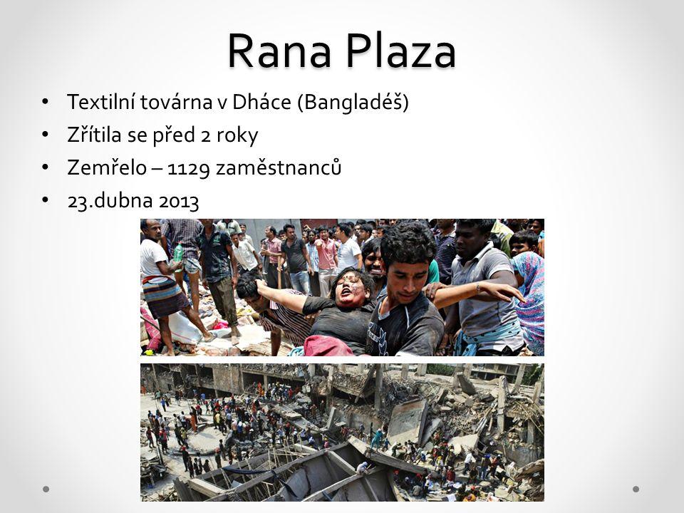 Rana Plaza Textilní továrna v Dháce (Bangladéš) Zřítila se před 2 roky Zemřelo – 1129 zaměstnanců 23.dubna 2013