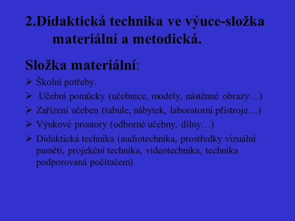 2.Didaktická technika ve výuce-složka materiální a metodická.