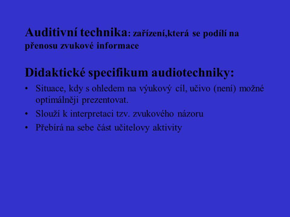 Auditivní technika : zařízení,která se podílí na přenosu zvukové informace Didaktické specifikum audiotechniky: Situace, kdy s ohledem na výukový cíl, učivo (není) možné optimálněji prezentovat.