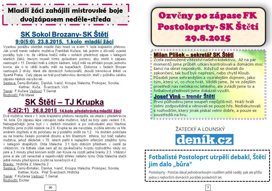 829 FK Postoloprty – SK Štětí 29.8.2015 0:5 T ě sná porážka mladších žák ů v posledním zápase Ústeckého p ř eboru.