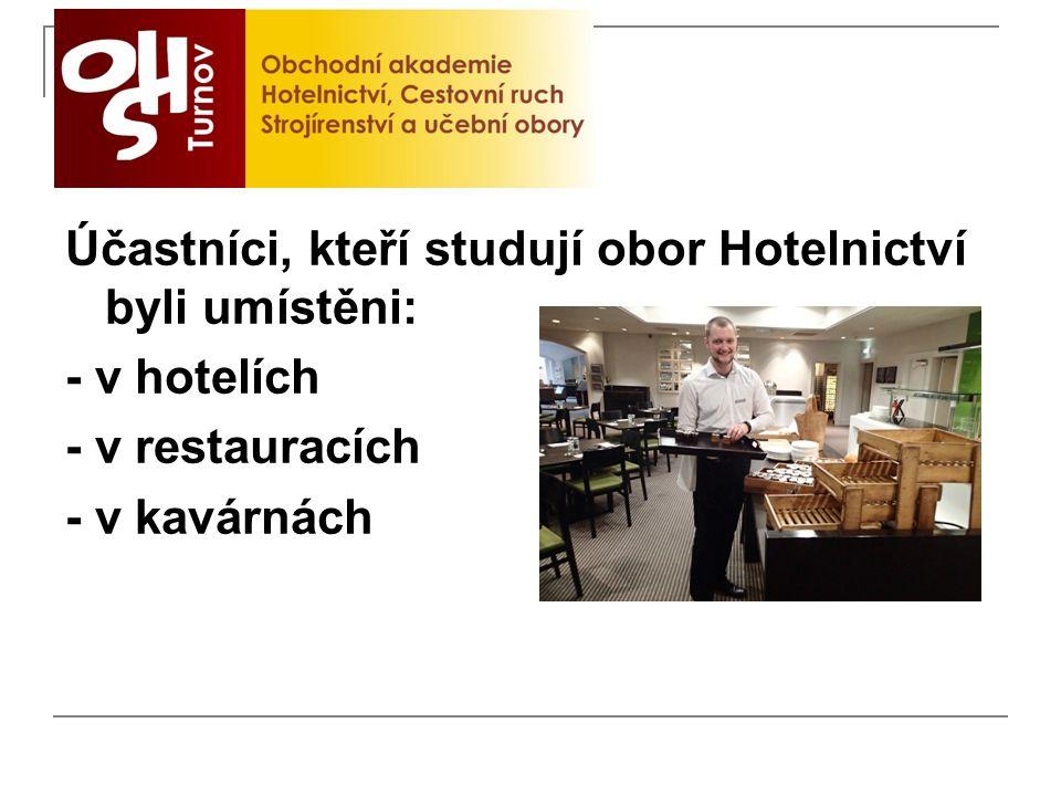 Účastníci, kteří studují obor Hotelnictví byli umístěni: - v hotelích - v restauracích - v kavárnách