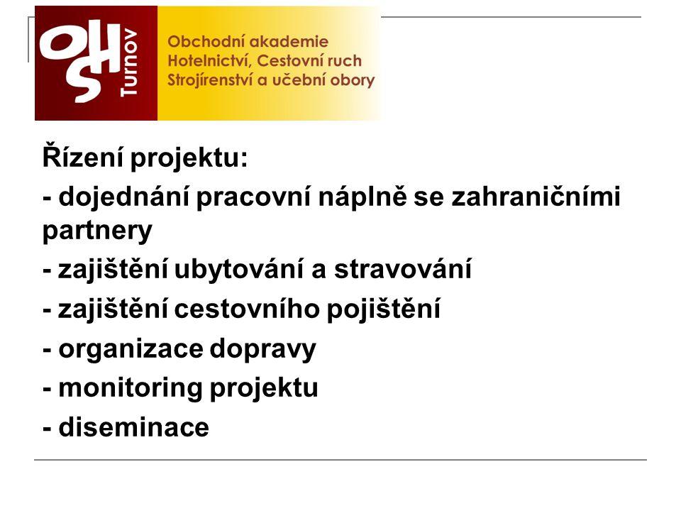 Řízení projektu: - dojednání pracovní náplně se zahraničními partnery - zajištění ubytování a stravování - zajištění cestovního pojištění - organizace dopravy - monitoring projektu - diseminace