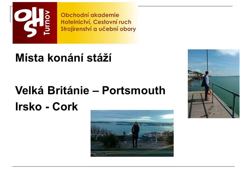 Místa konání stáží Velká Británie – Portsmouth Irsko - Cork