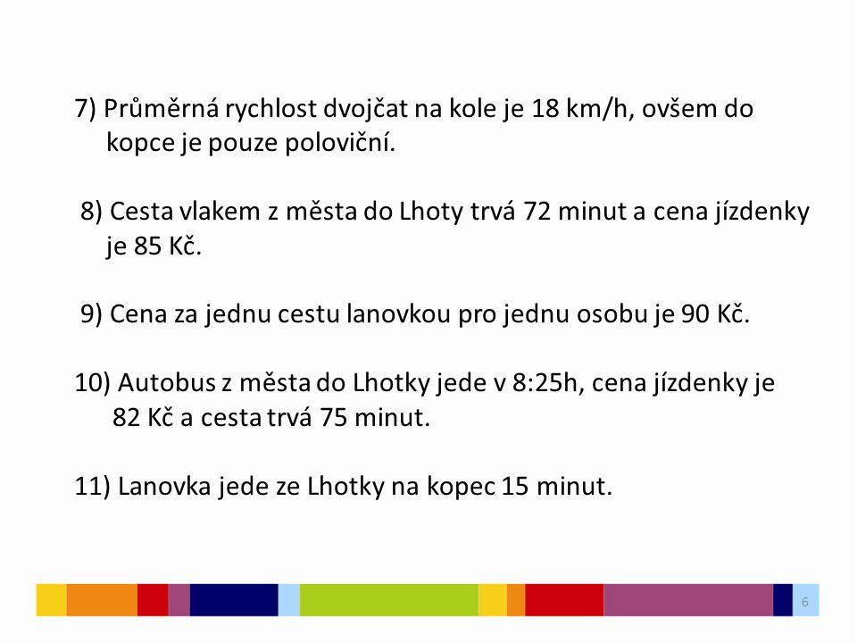 6 6 7) Průměrná rychlost dvojčat na kole je 18 km/h, ovšem do kopce je pouze poloviční.