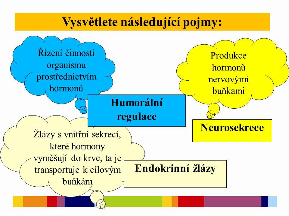 Vysvětlete následující pojmy: Žlázy s vnitřní sekrecí, které hormony vyměšují do krve, ta je transportuje k cílovým buňkám Řízení činnosti organismu p