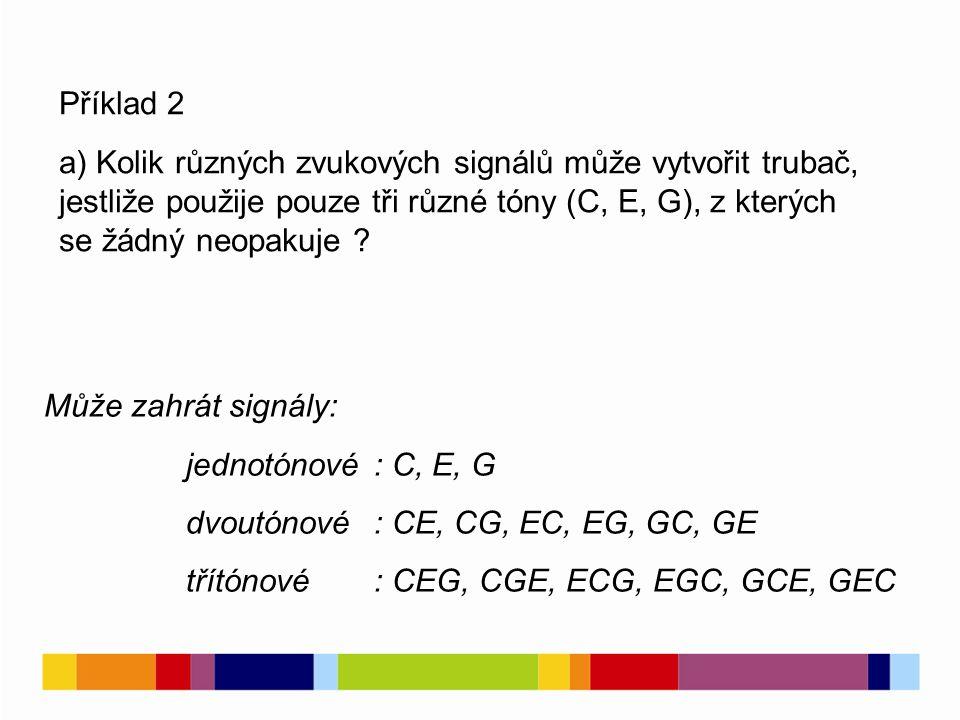 6 Příklad 2 a) Kolik různých zvukových signálů může vytvořit trubač, jestliže použije pouze tři různé tóny (C, E, G), z kterých se žádný neopakuje .