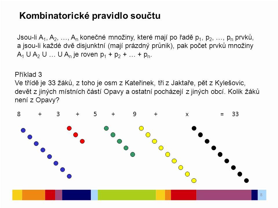 8 Kombinatorické pravidlo součtu Jsou-li A 1, A 2, …, A n konečné množiny, které mají po řadě p 1, p 2, …, p n prvků, a jsou-li každé dvě disjunktní (mají prázdný průnik), pak počet prvků množiny A 1 U A 2 U … U A n je roven p 1 + p 2 + … + p n.