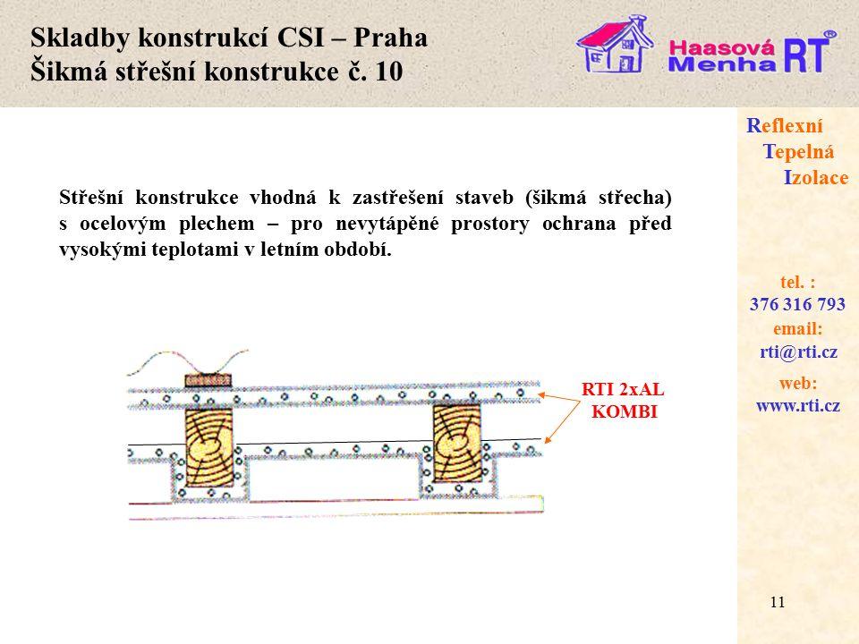 11 web: www.rti.cz Reflexní Tepelná Izolace email: rti@rti.cz tel.
