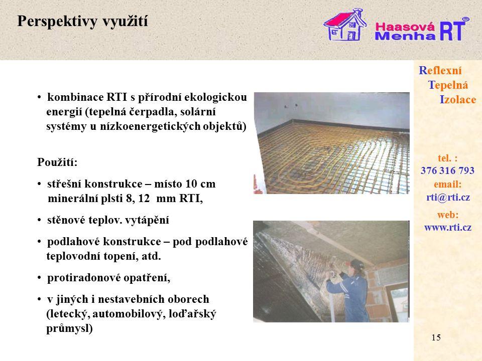 15 web: www.rti.cz Reflexní Tepelná Izolace email: rti@rti.cz tel.