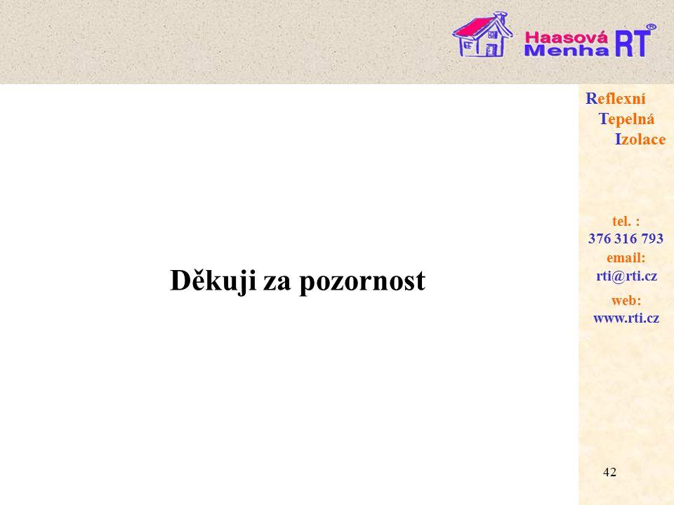 42 web: www.rti.cz Reflexní Tepelná Izolace email: rti@rti.cz tel.