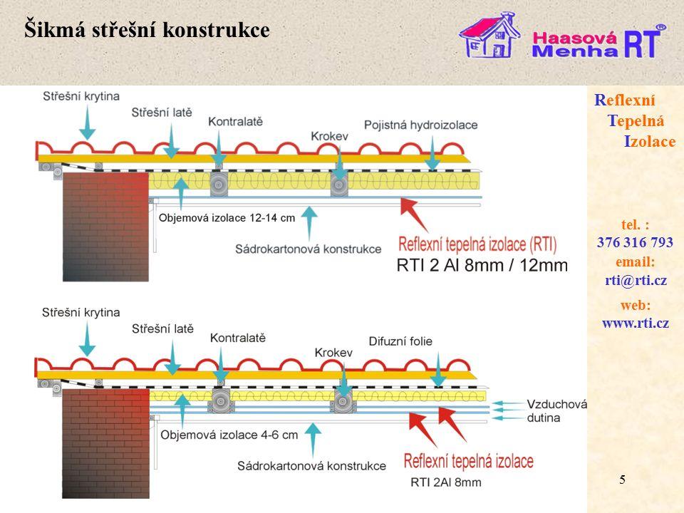 16 web: www.rti.cz Reflexní Tepelná Izolace email: rti@rti.cz tel.