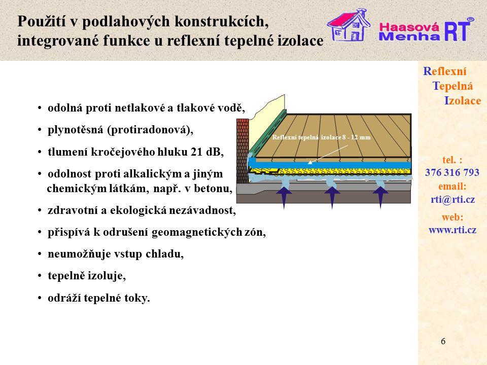6 web: www.rti.cz Reflexní Tepelná Izolace email: rti@rti.cz tel.