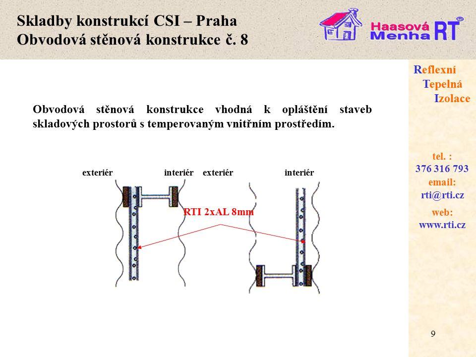 20 web: www.rti.cz Reflexní Tepelná Izolace email: rti@rti.cz tel.