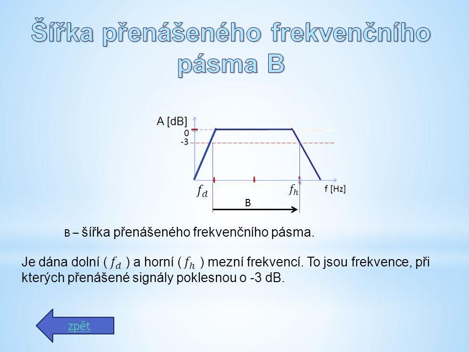 zpět B B – šířka přenášeného frekvenčního pásma.Je dána dolní ( ) a horní ( ) mezní frekvencí.
