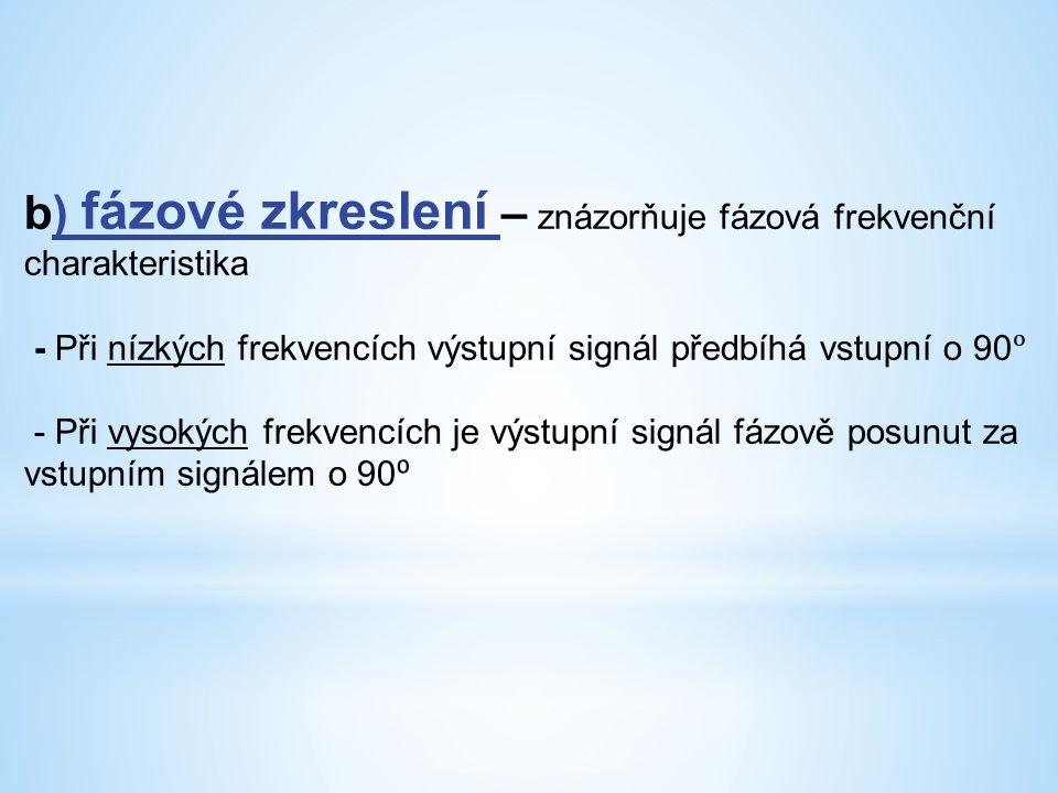 b) fázové zkreslení – znázorňuje fázová frekvenční charakteristika - Při nízkých frekvencích výstupní signál předbíhá vstupní o 90 - Při vysokých frekvencích je výstupní signál fázově posunut za vstupním signálem o 90 ⁰