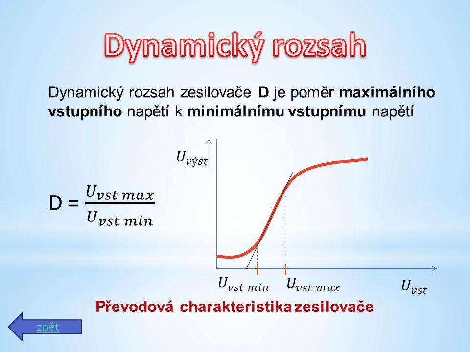 Dynamický rozsah zesilovače D je poměr maximálního vstupního napětí k minimálnímu vstupnímu napětí Převodová charakteristika zesilovače zpět