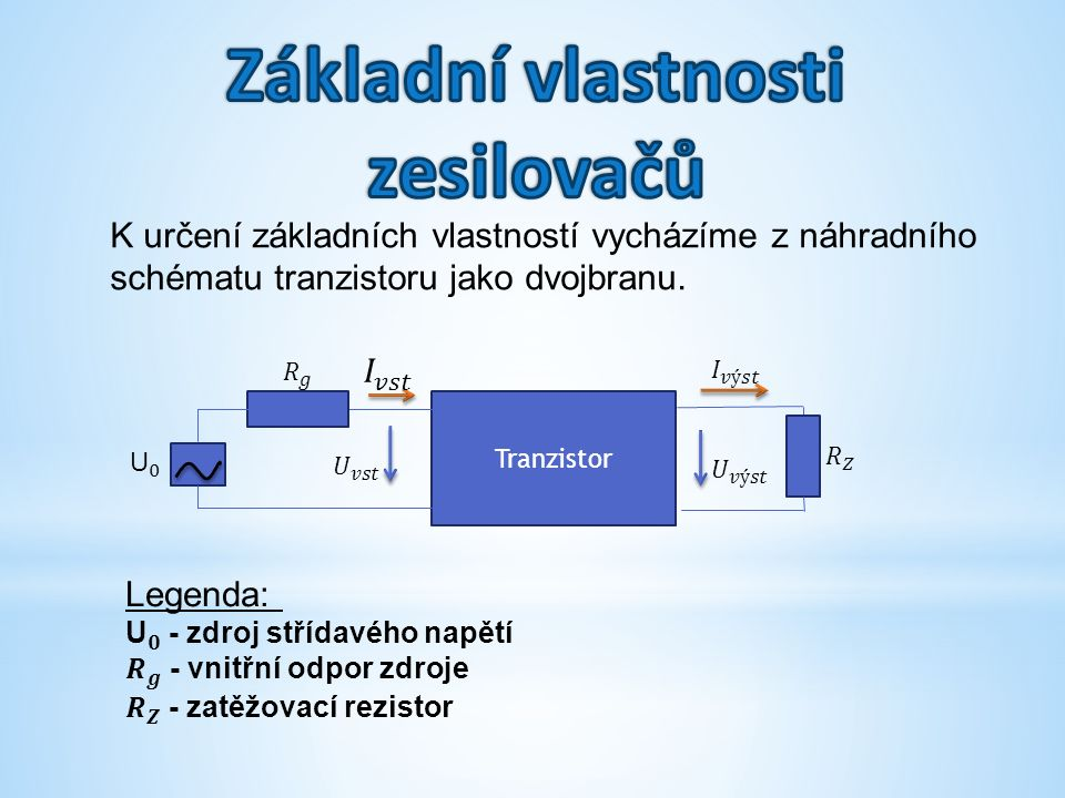 K určení základních vlastností vycházíme z náhradního schématu tranzistoru jako dvojbranu.