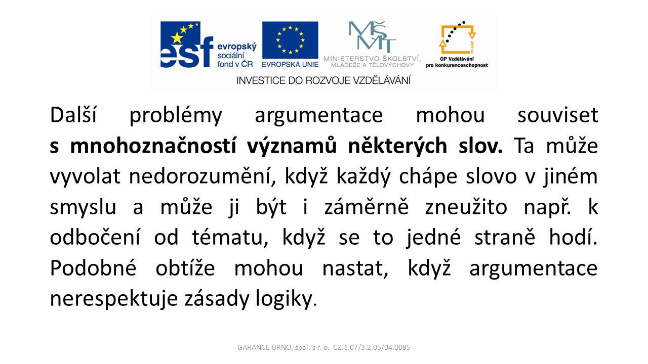 Další problémy argumentace mohou souviset s mnohoznačností významů některých slov.