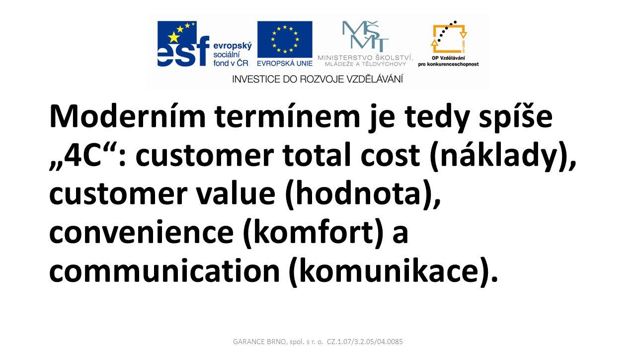 """Moderním termínem je tedy spíše """"4C : customer total cost (náklady), customer value (hodnota), convenience (komfort) a communication (komunikace)."""