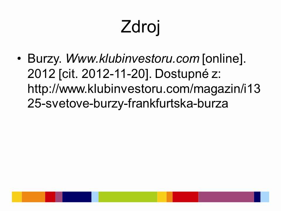 Zdroj Burzy. Www.klubinvestoru.com [online]. 2012 [cit.