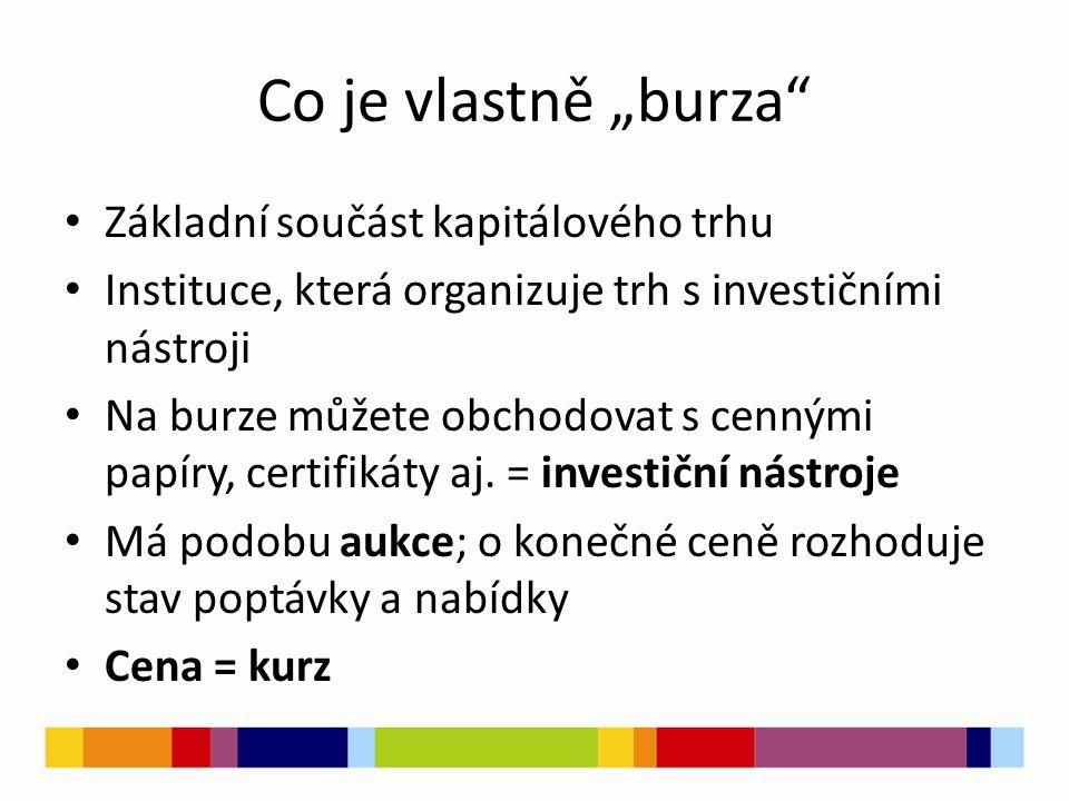 """Co je vlastně """"burza Základní součást kapitálového trhu Instituce, která organizuje trh s investičními nástroji Na burze můžete obchodovat s cennými papíry, certifikáty aj."""