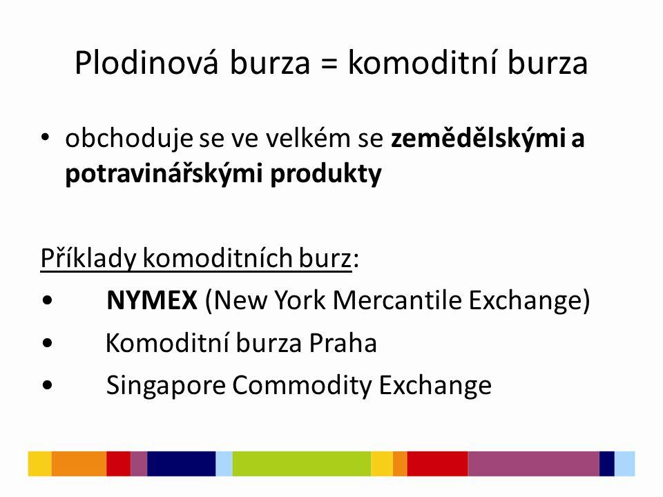 Plodinová burza = komoditní burza obchoduje se ve velkém se zemědělskými a potravinářskými produkty Příklady komoditních burz: NYMEX (New York Mercantile Exchange) Komoditní burza Praha Singapore Commodity Exchange