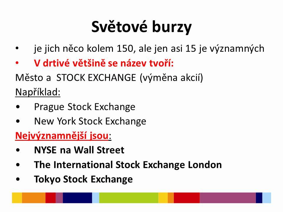 Světové burzy je jich něco kolem 150, ale jen asi 15 je významných V drtivé většině se název tvoří: Město a STOCK EXCHANGE (výměna akcií) Například: Prague Stock Exchange New York Stock Exchange Nejvýznamnější jsou: NYSE na Wall Street The International Stock Exchange London Tokyo Stock Exchange