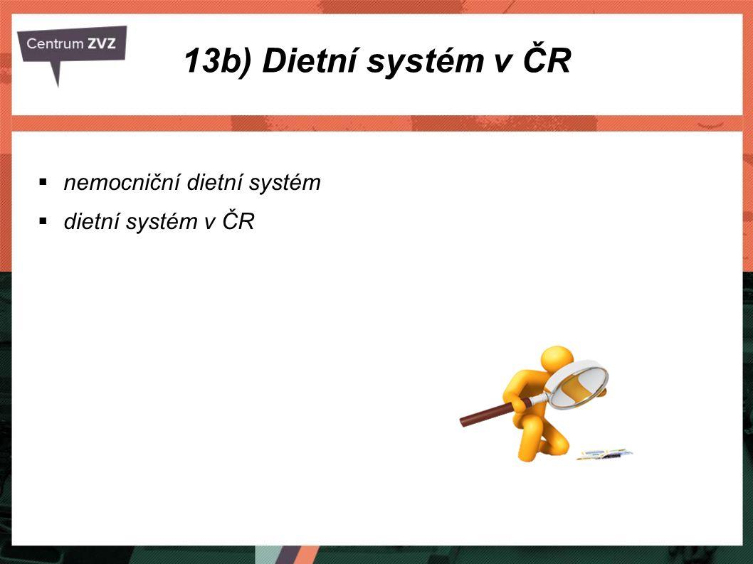  nemocniční dietní systém  dietní systém v ČR 13b) Dietní systém v ČR