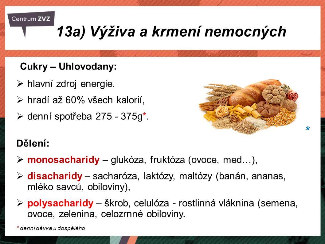 Cukry – Uhlovodany:  hlavní zdroj energie,  hradí až 60% všech kalorií,  denní spotřeba 275 - 375g*. Dělení:  monosacharidy – glukóza, fruktóza (o