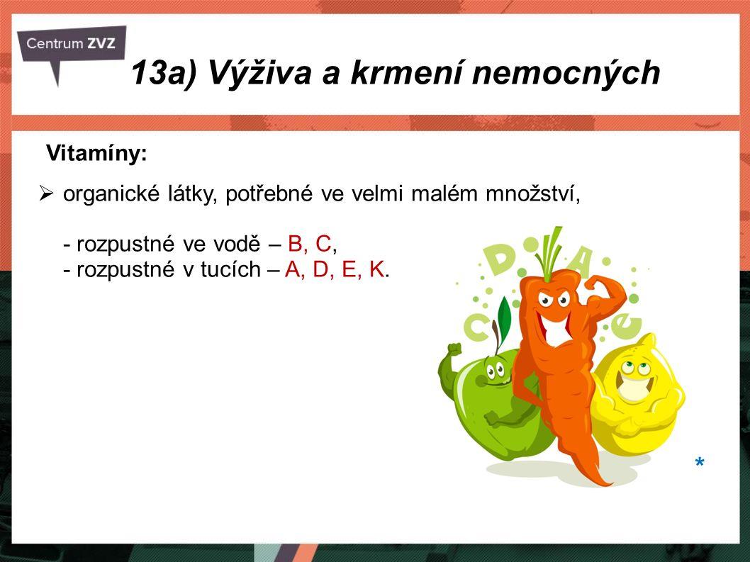 Vitamíny:  organické látky, potřebné ve velmi malém množství, - rozpustné ve vodě – B, C, - rozpustné v tucích – A, D, E, K. 13a) Výživa a krmení nem