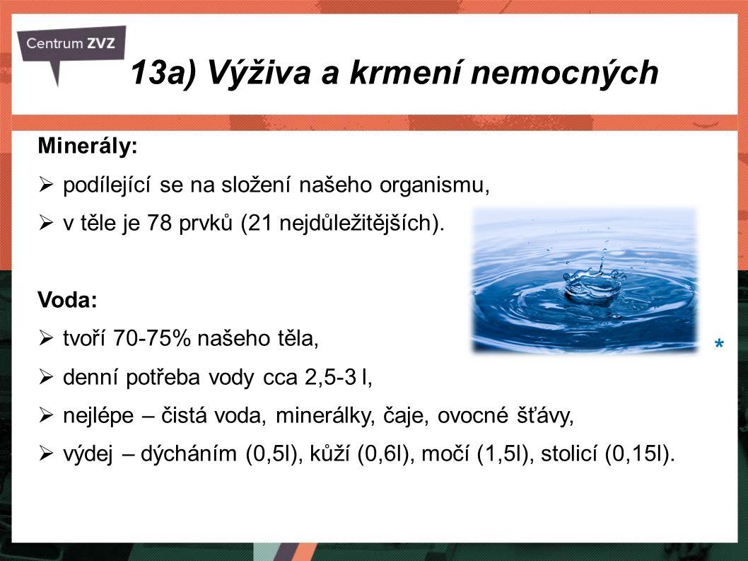 Minerály:  podílející se na složení našeho organismu,  v těle je 78 prvků (21 nejdůležitějších). Voda:  tvoří 70-75% našeho těla,  denní potřeba v