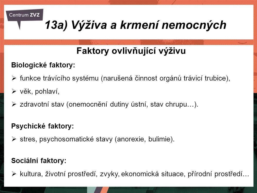 Faktory ovlivňující výživu Biologické faktory:  funkce trávícího systému (narušená činnost orgánů trávicí trubice),  věk, pohlaví,  zdravotní stav
