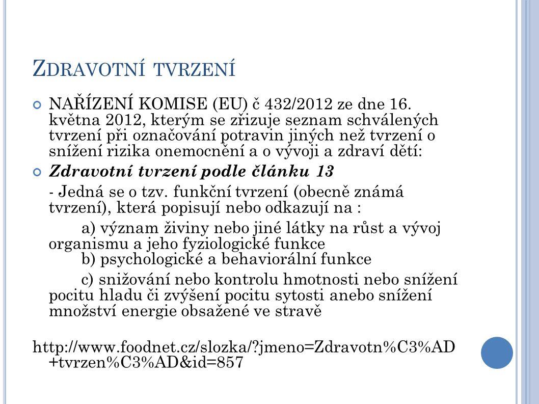 Z DRAVOTNÍ TVRZENÍ NAŘÍZENÍ KOMISE (EU) č 432/2012 ze dne 16. května 2012, kterým se zřizuje seznam schválených tvrzení při označování potravin jiných