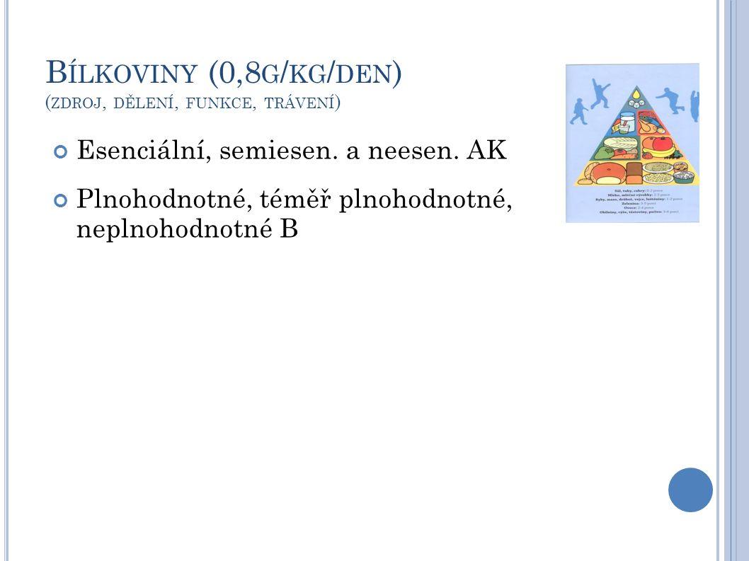 B ÍLKOVINY (0,8 G / KG / DEN ) ( ZDROJ, DĚLENÍ, FUNKCE, TRÁVENÍ ) Esenciální, semiesen. a neesen. AK Plnohodnotné, téměř plnohodnotné, neplnohodnotné