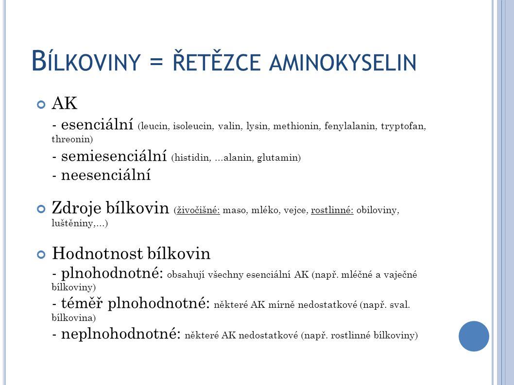 B ÍLKOVINY = ŘETĚZCE AMINOKYSELIN AK - esenciální (leucin, isoleucin, valin, lysin, methionin, fenylalanin, tryptofan, threonin) - semiesenciální (his