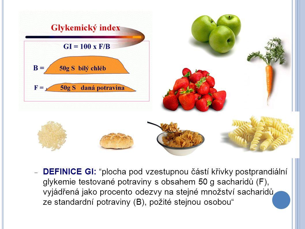 """ DEFINICE GI: """"plocha pod vzestupnou částí křivky postprandiální glykemie testované potraviny s obsahem 50 g sacharidů (F), vyjádřená jako procento o"""