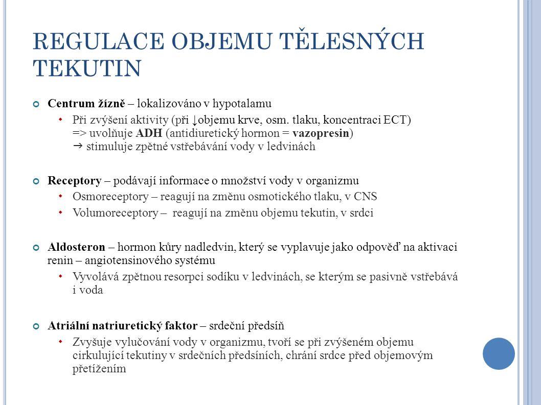 REGULACE OBJEMU TĚLESNÝCH TEKUTIN Centrum žízně – lokalizováno v hypotalamu  Při zvýšení aktivity (při ↓objemu krve, osm. tlaku, koncentraci ECT) =>